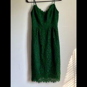 Jcrew Green Lace Midi  Formal Dress Size 0-000